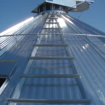 Grain bin roof with ladder and sliding roof hatch
