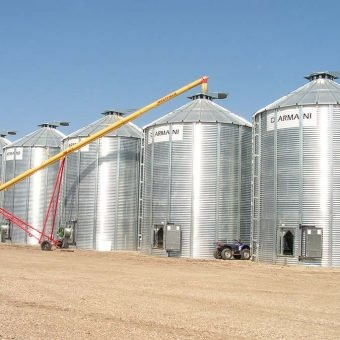Group of grain bins with aeration systems