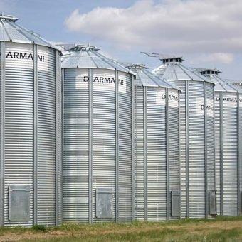 Stiffened grain bins manufactured in Canada