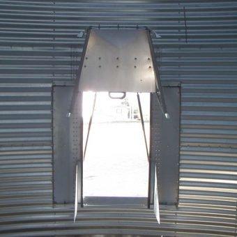 Open grain bin door from inside