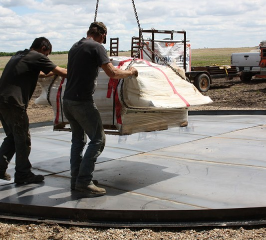 steel floor laid out