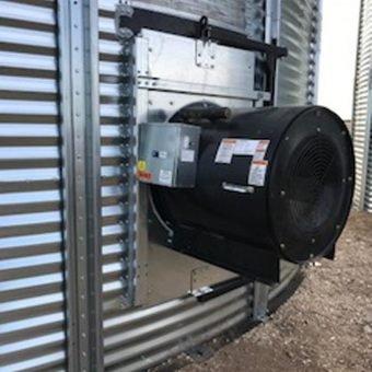 aeration fan mounted flat bottom bin